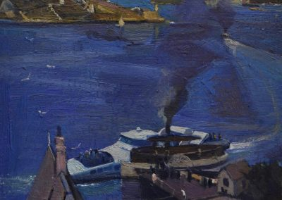 1.  Arthur Streeton's 'From McMahon's Point - fare; one penny'. 1890, with Sydney Ferry SuperCat - fare; $14.00. 26 x 17 cm