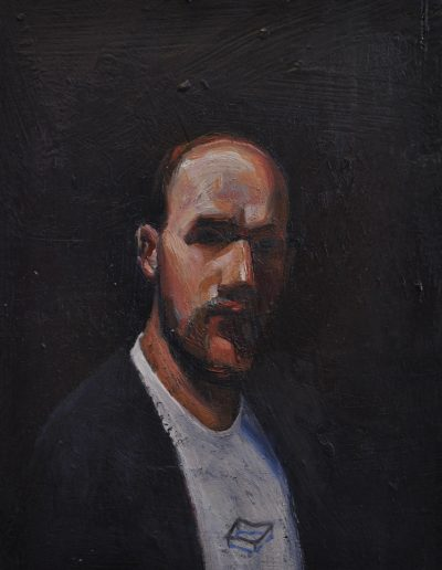 Tom Roberts' 'self-portrait'.  1889, wearing a Locus Non Consequensia t-shirt. 20 x 15 cm