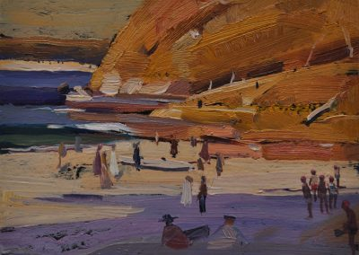 6.  Arthur Streeton's 'Manly Beach'.  1895, with Bold and Beautiful attendance. 20 x 25 cm