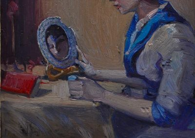2.  Bessie Davidson's 'Jeune Fille Au Miroir' (Young Girl and a Mirror).  1914, with missing piece of ceramic recently found at Sirius Cove. 16 x 13.5 cm