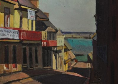 11.  Sydney Long's 'Clyde Street'.  1901, with public housing removal banners. 28.5 x 17.5 cm