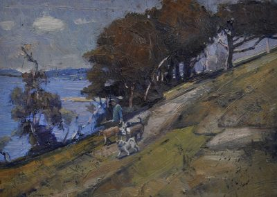 3.  Arthur Streeton's 'Cremorne pastoral'.  1895, hitherto unknown second version depicting local dog walkers. 20 x 25 cm