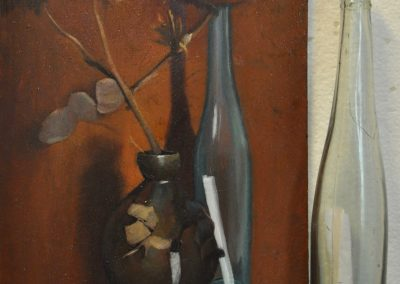 15. Arthur Streeton's 'Honesty and artichokes'.  1889, with scrolled parchment in bottle. 26 x 19 cm