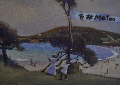 16. Charles Conder's 'Coogee Bay'.  1888, with #MeToo banner. 13 x 20.5cm