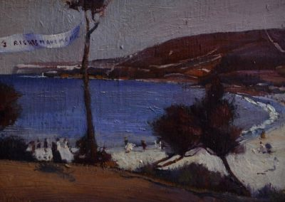 17. Tom Roberts' 'Holiday sketch at Coogee'.  1888 with 'Men's Rights Movement' banner. 13 x 20.5 cm