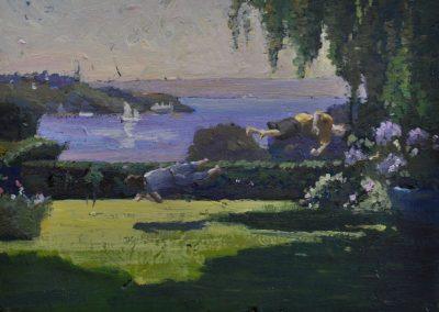 20. Elioth Gruner's 'The Harbour from Killoutan' (Double Bay, Sydney).  1919-20, with suburban idyll. 12.5 x 16.5 cm