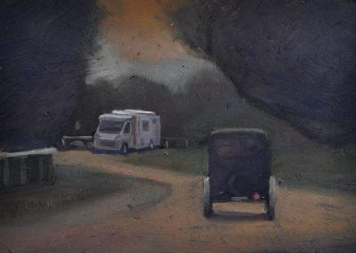 21.  Clarice Beckett's 'Bay Road Beaumaris'.  c. 1927, with Winnebago. 11 x 16 cm