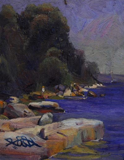 Arthur Streeton's 'Camp at Sirius Cove'.  1892, with tag