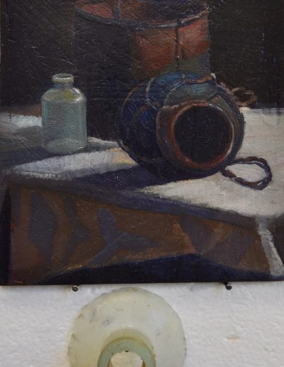 Arthur Streeton's 'Still life with Tobacco Jar, Billy and Glass Vial'. 1883, (with found remnant)
