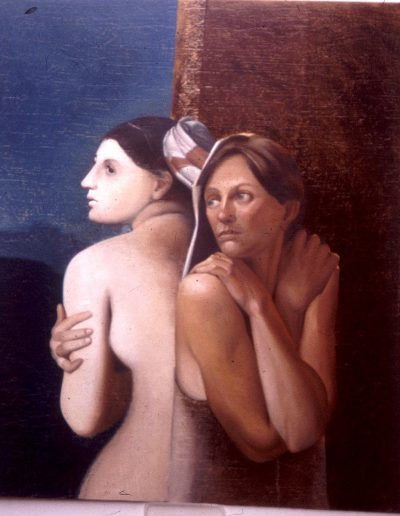 'A token lost or her reflection found', oil on board 120 x 150 cm
