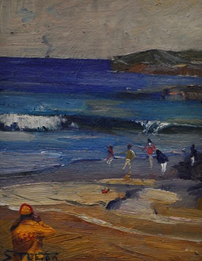 Arthur Streeton's 'Beach scene'.  1890, with Lifeguard