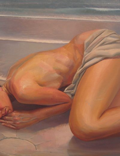 'Figure on Sand', oil on board. 120 x 75 cm