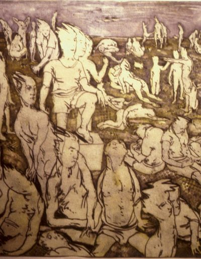 'Figures in field', oil on paper 70 x 75 cm Sussex UK