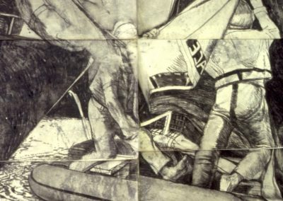 Greenpeace series drawing, charcoal on paper 1.6 x 1.6 m