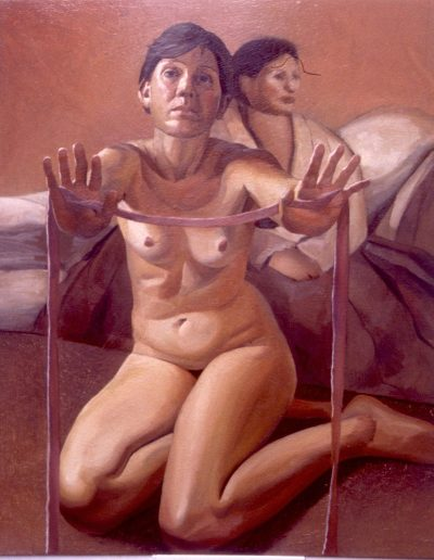 'She offered ribbons to demonstrate the measurement of grace', oil on board 120 x 150 cm