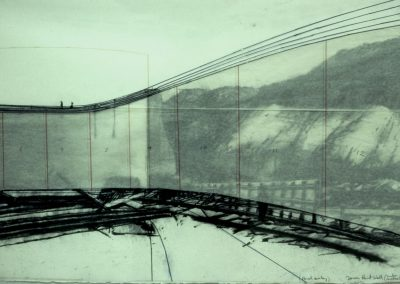Tarra Wall Project, drawing Hickson Road wall charcoal on paper