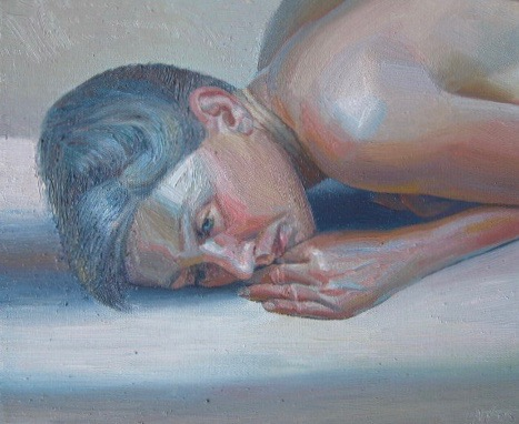 'Woman and Thought', oil on canvas. 60 x 55 cm