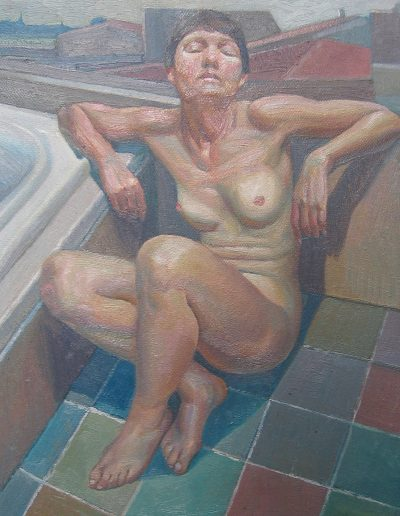 'Woman in Bathroom', oil on canvas. 50 x 65 cm
