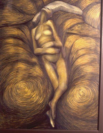 'Question', oilstick on paper 160 x 85 cm