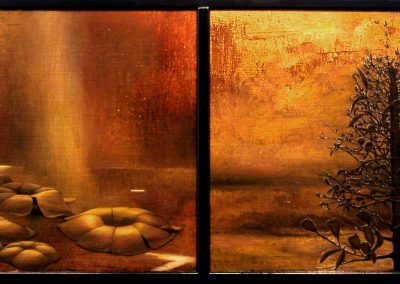 'Monopodium and Caytoniales', oil and mixed media on jute diptych.  58 x 148 cm