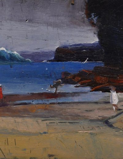 18. A.H. Fullwood's 'Sydney Harbour, North Head from Edwards Beach' 1899 with Approaching Tsunami (as predicted by Professor Edward Bryant in his book 'Tsunami - The Underrated Hazard'), 2008.  14h x 20w cm. Oil on board