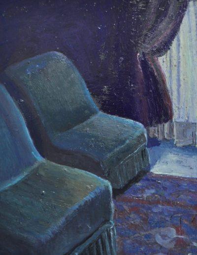 10. Stella Bowen's 'Interior, Paris' c. 1931 with missing writer.  14h x 11w cm. Oil on board