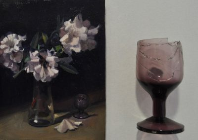 11. Ernest Buckmaster's 'Rhododendrons' 1930 with cracked glass. 16h x 13w cm. Oil on board