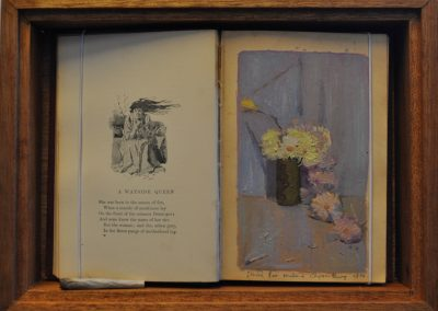 13.  Charles Conder's 'Smoke and Chrysanthemum'.  1890, with Barcroft Boake's poem, 'A Wayside Queen' from his book 'Where the Dead Men Lie'.  23h x31 cm.  Box Framed