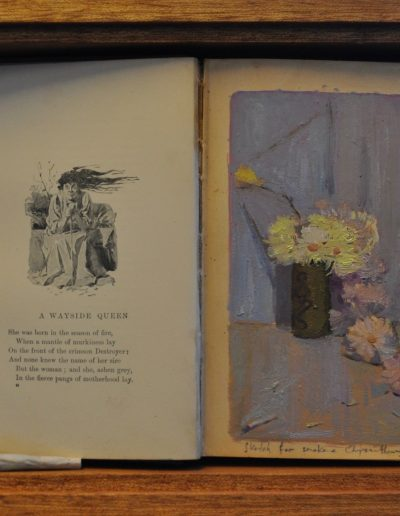 14.  Charles Conder's 'Smoke and Chrysanthemum'.  1890, with Barcroft Boake's poem, 'A Wayside Queen' from his book 'Where the Dead Men Lie'.  23h x31 cm.  Box Framed