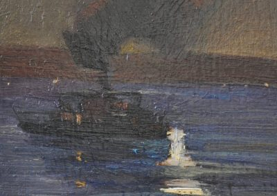 17. A.H. Fullwood's 'Sydney Harbour Ferry' 1893 with Airbus A380. 19h x 12w cm. Oil on board