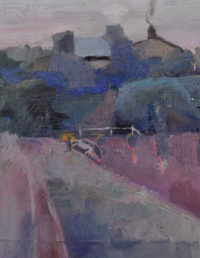 19. Harley Griffiths' 'Twilight (Beecroft, NSW)' 1912 with minor incident. 14h x 17w cm. Oil on board