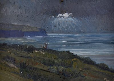 2.  Howard Ashton's 'The Eye of the Storm' 1939 with Leaper. 2h x 19w cm. Oil on board
