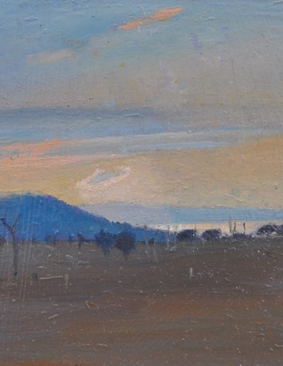 20. Elioth Gruner's 'Sunrise, Yass' 1931 with sharpened corona. 11h x 16w cm. Oil on board