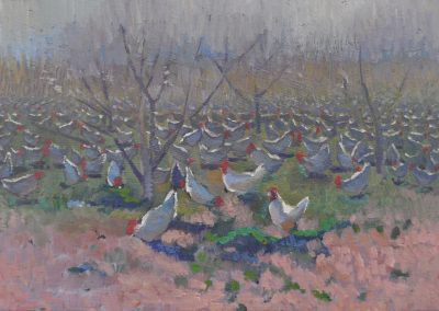 21. Elioth Gruner's 'In the Orchard' 1917 with battery hen day release. 13h x 18w cm. Oil on board