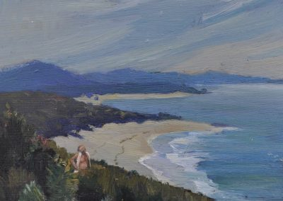 22. Elioth Gruner's 'Near Nambucca Heads' 1933 with Brian Cannell looking on. 14h x 14.5w cm. Oil on board