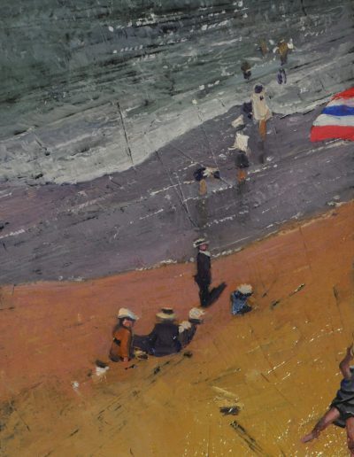 23. Elioth Gruner's 'The Wave' c. 1913 with child paraglider.  24h x 13.5w cm. Oil on board