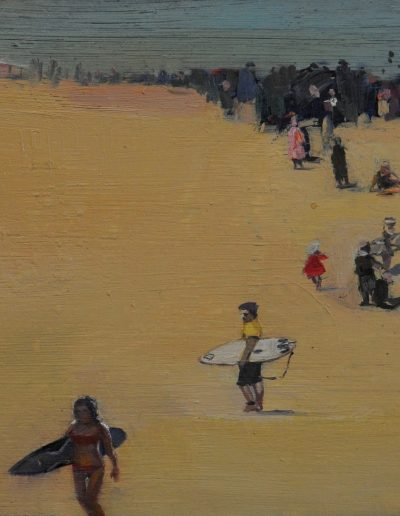 24.  Elioth Gruner's 'Along the Sands' c. 1918 with Haydenshapes 'Abysse Print Plunder FutureFlex' board.  13.5h x 24w cm. Oil on board