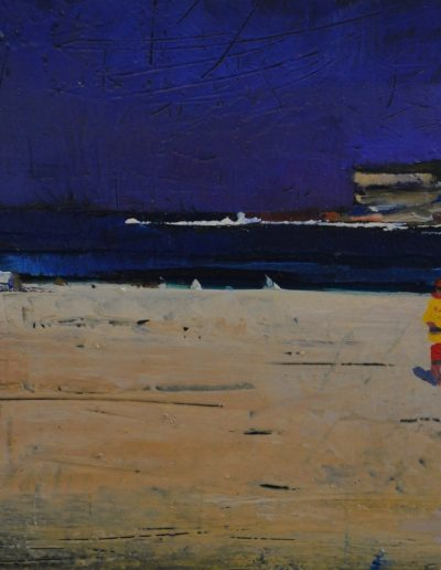 25.  Elioth Gruner's 'Bondi Beach' 1919 with rivals for the drowned 13.5h x 24w cm. Oil on board