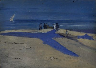 26.  Elioth Gruner's 'Fisherman Coogee Beach' 1913 with Boeing 787 Dreamliner.  12h x 16w cm.  Oil on board