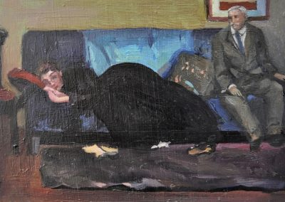 27. Bernard Hall's 'Asleep' n.d. with Howard Hinton's landlady, Dorothea Sabiel. 11h x 15w cm. Oil on board