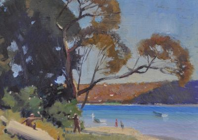 28. H.A. Hanke's 'Spring Day, Gunamatta Bay' 1926 with picnic remnants. 13.5h x 15.5w cm. Oil on board