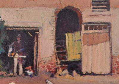 29. Jesse Jewhurst Hilder's 'Stableyard, Currency Lass Inn, Parramatta' n.d. with Stihl MS170. 14.5h x 20w cm. Oil on board