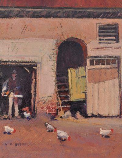 29. Jesse Jewhurst Hilder's 'Stableyard, Currency Lass Inn, Parramatta' n.d. with Stihl MS170. 14.5h x 20w cm. Oil on board