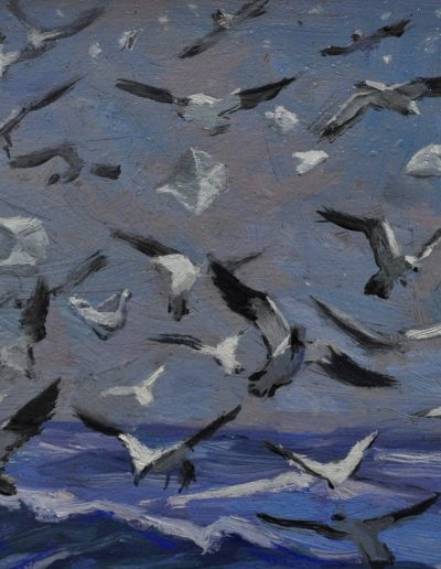 3. Richard Ashton's 'Flight' 1936 with non-biodegradable items. 13h x 15w cm. Oil on board