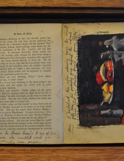 30.  Polly Hurry's 'Still life' 1940 with Annie S. Swan's book 'A Son of Erin'.  24h x33w cm.  Box framed