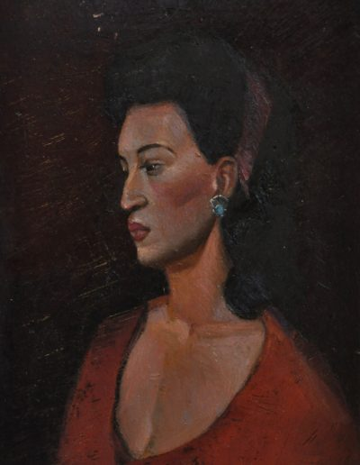 31.  Garrett Kingsley's 'Rita' 1942 with lost and recovered earring.  22h x 14w cm. Oil on board