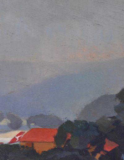 35. Percy Leason's 'Fog' with emergency sea ditch n.d. 13h x 18w cm. Oil on board
