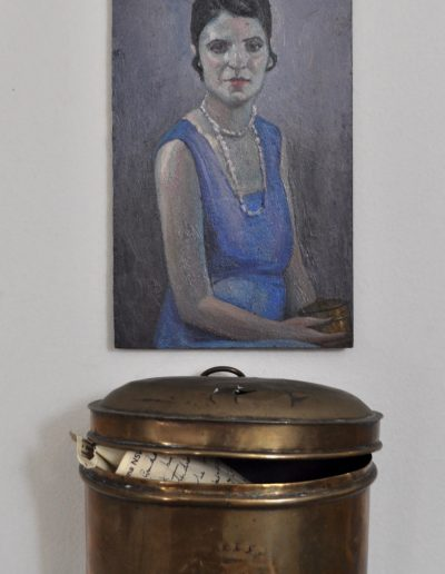 36. Fred Leist's 'Silver and Blue' 1929 with once missing brass cannister. 21h x 12.5w cm. Oil on board