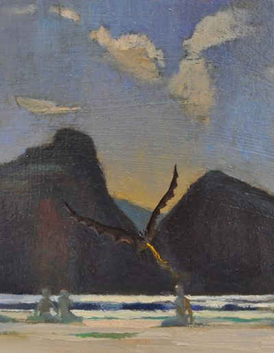 38. Fred Leist's 'Summer Moon' with Drogon decending. n.d. 14h x 16w cm. Oil on board