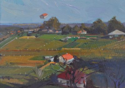 39. Percy Lindsay's 'Pymble' 1925 with Henry Lawson's Spots of Red and White. 13h x 17.5w cm. Oil on board